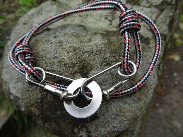 Red Black Rope Carabiner Bracelet Washer