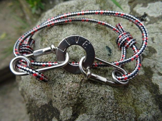 Red Black Rope Carabiner Bracelet Stamped