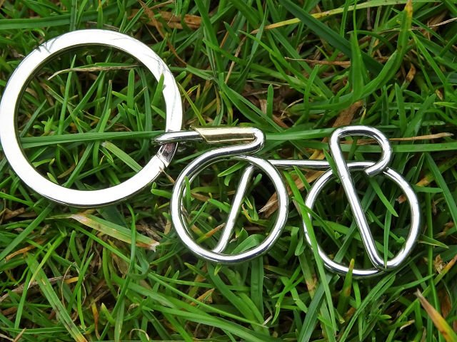 Stainless steel Racer Keyring shown on grass