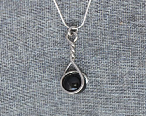 Black Caged Marble Necklace