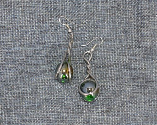 Marble Earrings - green lustre
