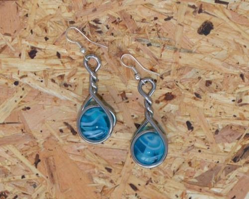 Marble Earrings - Ice Blue Caged
