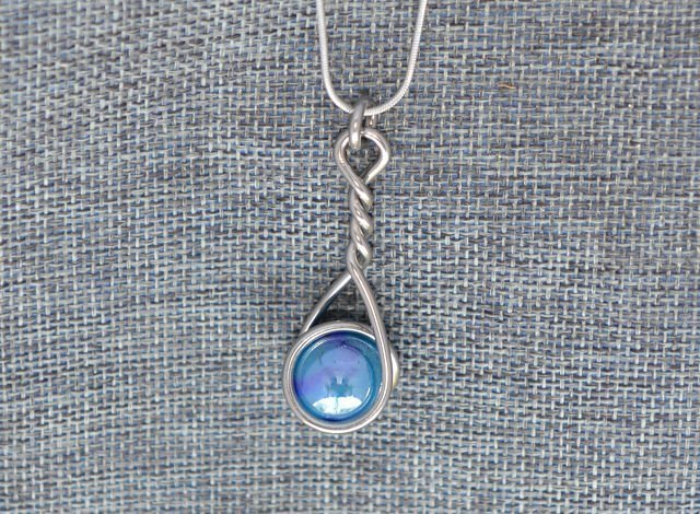 Metallic Blue Caged Marble Necklace