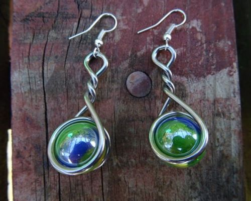 Marble Earrings - Snake Eye Caged