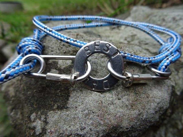 Blue Rope Carabiner Bracelet Stamped