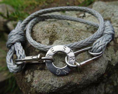 Grey Rope Carabiner Bracelet Stamped