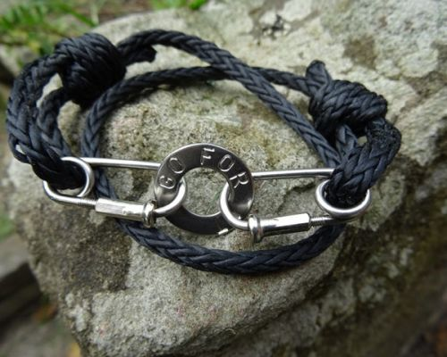 Black Rope Bracelet Stamped