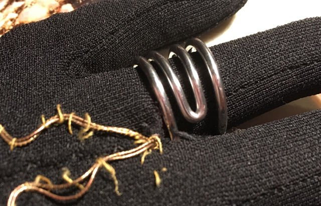 Respoke Designs Bicycle Spoke Jewellery Switchback Ring on black vintage glove