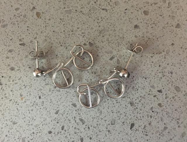 Team Pursuit Earrings. Tiny bikes on studs