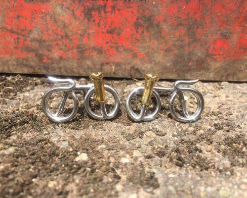 stainless steel bike cufflinks