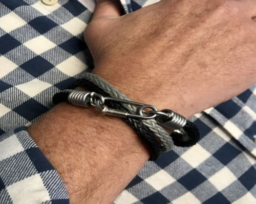 Rope Bracelet Double Grey and Black