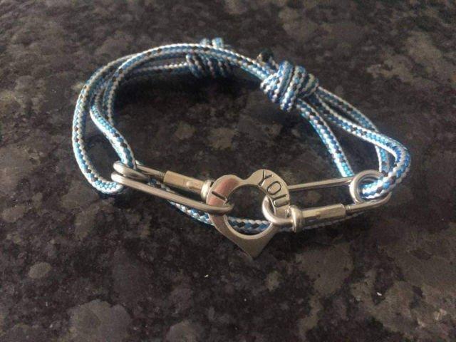 Personalised Heart Rope Bracelet Blue